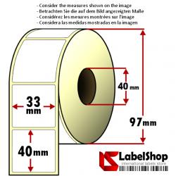 1000 Thermo-Haftetiketten auf Rolle 33x40 mm, 1 Bahn, Innenkern 40 mm