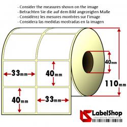 Thermo-Haftetiketten auf Rolle zu 3000 Stück, 33x40 mm, 2 Bahnen, Innenkern 40
