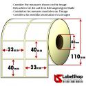 Rouleau à deux pistes de 3000 étiquettes en papier thermique blanc autocollante mm33x 40Anime 40