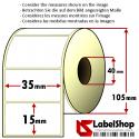 Rouleau à une piste de 3000 étiquettes en papier thermique blanc autocollante mm35x 15Anime 40
