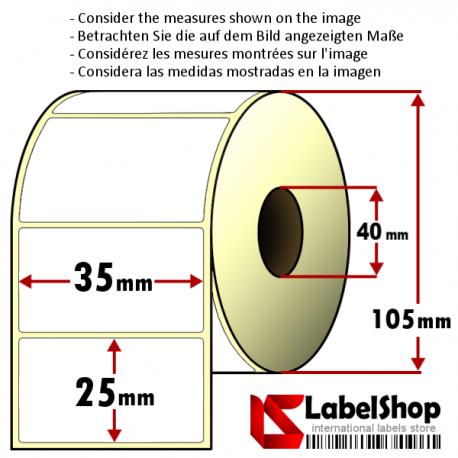 Thermo-Haftetiketten auf Rolle zu 2000 Stück, 35x25 mm, 1 Bahn, Innenkern 40