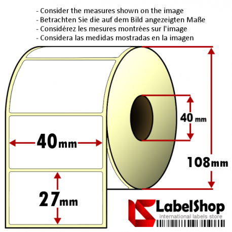 Roll of 2000 40X27 mm thermal adhesive labels -1 row / core 40