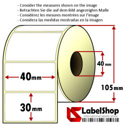 Rouleau à deux pistes de 1800 étiquettes thermiques autocollantes 40x30 - Anime 40