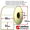 Roll of 2000 50X25 mm thermal adhesive labels -1 row / core 40
