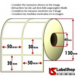 Rollo de 5000 etiquetas adhesivas termicas mm 50x30 2 Pistas núcleo 40