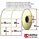 Roll of 2000 50x40 mm thermal adhesive labels -2 rows / core 40