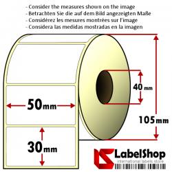 1800 Thermo-Haftetiketten auf Rolle 50x30 mm, 1 Bahn, Innenkern 40