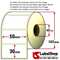 Roll of 1800 50x30 mm thermal adhesive labels -1 row / core 40
