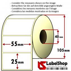 Rollo de 2000 etiquetas adhesivas termicas mm 55x25 1 Pista núcleo 40