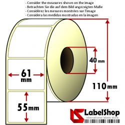 Roll of 1000 61X55 mm thermal adhesive labels -1 row / core 40