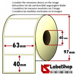 1000 Thermo-Haftetiketten auf Rolle 63x40 mm, 1 Bahn, Innenkern 40