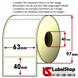 Rollo de 1000 etiquetas adhesivas termicas mm 63x40 1 Pista núcleo 40