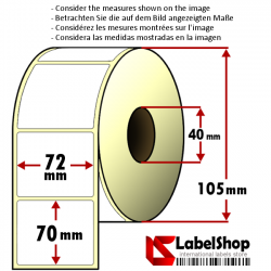Roll of 700 72x70 mm thermal adhesive labels -1 row / core 40