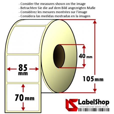 Roll of 700 85x70 mm thermal adhesive labels -1 row/ core 40