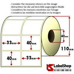 3000 Thermo-Haftetiketten aus Vellum Papier auf Rolle 33x40 mm, 2 Bahnen, Innenkern 40