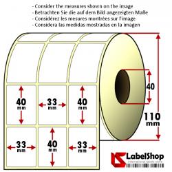 6000 Thermo-Haftetiketten aus Vellum Papier auf Rolle 33x40 mm, 3 Bahnen, Innenkern 40