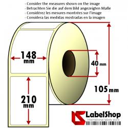 Rollo de 250 etiquetas adhesivas de papel vélin para impresión por transferencia térmica mm 148x210 1 Pista núcleo 40