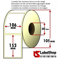 Rollo de 350 etiquetas adhesivas de papel vélin para impresión por transferencia térmica mm 106x153 1 Pista núcleo 40