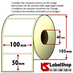 Rollo de 1000 etiquetas adhesivas de papel vélin para impresión por transferencia térmica mm 100x50 1 Pista núcleo 40
