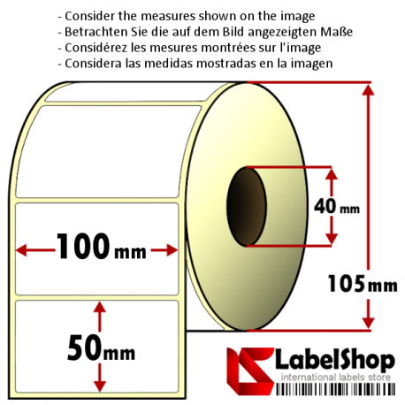 Roll of 1000 100x50 mm thermal transfer paper - vellum paper adhesive labels-1 row/ core 40