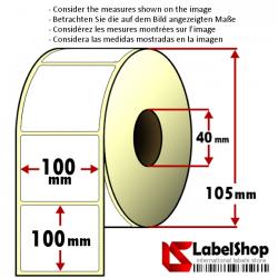 500 Thermo-Haftetiketten aus Vellum Papier auf Rolle 100x100 mm, 1 Bahn, Innenkern 40 100x102 - 10x10