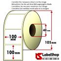 Rollo de 500 etiquetas adhesivas de papel vélin para impresión por transferencia térmica mm 100x100 1 Pista núcleo 40