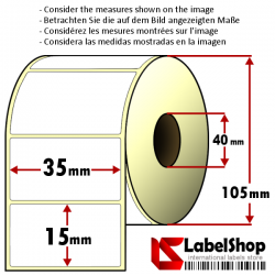 Rollo de 3000 etiquetas adhesivas de papel vélin para impresión por transferencia térmica mm 35x15