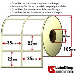 4000 Thermo-Haftetiketten aus Vellum Papier auf Rolle 35x25 mm, 2 Bahnen, Innenkern 40