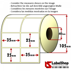 Rollo de 4000 etiquetas adhesivas de papel vélin para impresión por transferencia térmica mm 35x25 2 Pistas núcleo 40