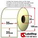 Rollo de 2000 etiquetas adhesivas de para impresión por transferencia térmica mm 35x25 1 Pista núcleo 40