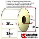 2000 Thermo-Haftetiketten aus Vellum Papier auf Rolle 35x25 mm, 1 Bahn, Innenkern 40
