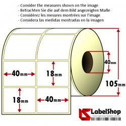 5000 Thermo-Haftetiketten aus Vellum Papier auf Rolle 40x18 mm, 2 Bahnen, Innenkern 40