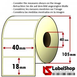 Rollo de 2500 etiquetas adhesivas de papel vélin para impresión por transferencia térmica mm 40x18 1 Pista núcleo 40