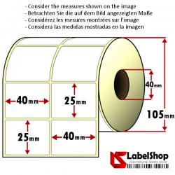 Rollo de 4000 etiquetas adhesivas de papel vélin para impresión por transferencia térmica mm 40x25 2 Pistas núcleo 40