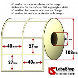 Rollo de 4000 etiquetas adhesivas de papel vélin para impresión por transferencia térmica mm 40x27 2 Pistas núcleo 40