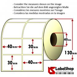 Rollo de 5000 etiquetas adhesivas de papel vélin para impresión por transferencia térmica mm 40x30 2 Pistas núcleo 40