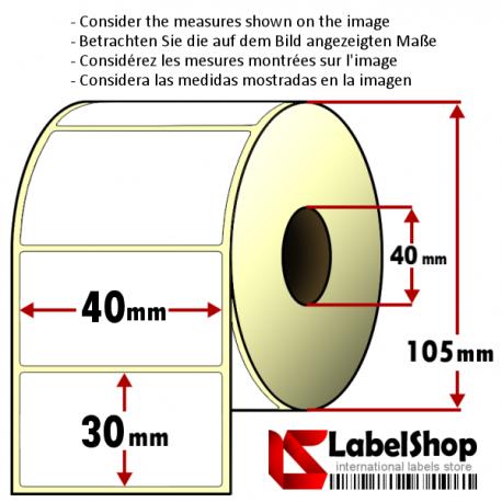 Rollo de 1800 etiquetas adhesivas de papel vélin para impresión por transferencia térmica mm 40x30 1 Pista núcleo 40