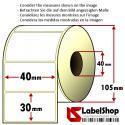 1800 Thermo-Haftetiketten aus Vellum Papier auf Rolle 40x30 mm, 1 Bahn, Innenkern 40