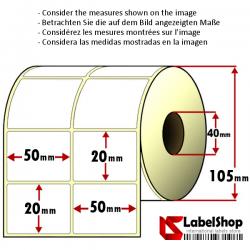 Rollo de 4000 etiquetas adhesivas de papel vélin para impresión por transferencia térmica mm 50x20 2 Pistas núcleo 40