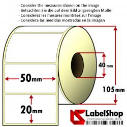 Rollo de 2000 etiquetas adhesivas de papel vélin para impresión por transferencia térmica mm 50x20 1 Pista núcleo 40