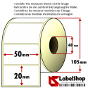 Roll of 2000 50x20 mm thermal transfer paper - vellum paper adhesive labels -2 rows/ core 40