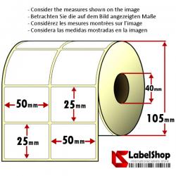 Rollo de 4000 etiquetas adhesivas de papel vélin para impresión por transferencia térmica mm 50x25 2 Pistas núcleo 40