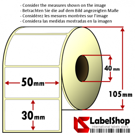 Roll of 1800 50x30 mm thermal transfer paper - vellum paper adhesive labels-1 row/ core 40