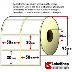 Rollo de 2500 etiquetas adhesivas de papel vélin para impresión por transferencia térmica paper mm 50x30 2 Pistas núcleo 40