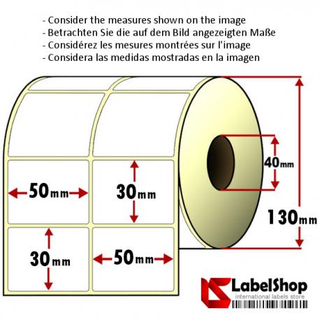 Rollo de 5000 etiquetas adhesivas de papel vélin para impresión por transferencia térmica mm 50x30 2 Pistas núcleo 40