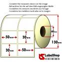 5000 Thermo-Haftetiketten aus Vellum Papier auf Rolle 50x30 mm, 2 Bahnen, Innenkern 40