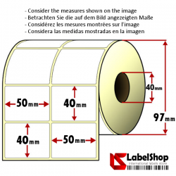 Rollo de 2000 etiquetas adhesivas de papel vélin para impresión por transferencia térmica mm 50x40 2 Pistas núcleo 40