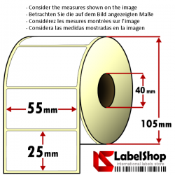 Rollo de 2000 etiquetas adhesivas de papel vélin para impresión por transferencia térmica mm 55x25 1 Pista núcleo 40