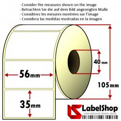 Rollo de 1500 etiquetas adhesivas de papel vélin para impresión por transferencia térmica mm 56x35 1 Pista núcleo 40