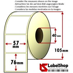 Rollo de 700 etiquetas adhesivas de papel vélin para impresión por transferencia térmica mm 57x76 1 Pista núcleo 40